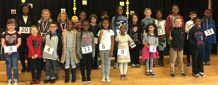 Photo of 3rd & 4th grade students who participated in the 2018 ESE spelling bee